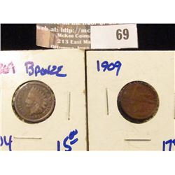 1864 and 1909 Indian Head Cent