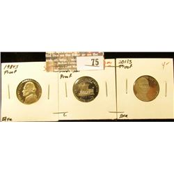 "1984 S Proof, 2004 S ""Keel Boat"" Westward Journey Proof, & 2011 S Proof Jefferson Nickels. (3 pcs.)."