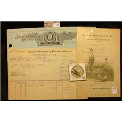 "1938 ""John Deere Plow Co. Farm Machinery Vehicles, Wagons etc."" Invoice; ""Emerson Foot Lift Farm Imp"