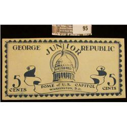 "June, 1925 ""George Junior Republic"" 5 Cents Scrip, ""Dome of U.S. Capitol Washington, D.C."", ""Coopera"