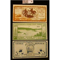 "Three note set of Series of June, 1925 5 Cent, 10 Cent, & 50 Cent ""The George Junior Republic"", Free"