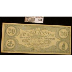 """$50 College Currency Scrip.  """"Budget System Bookkeepers, Office and Business Practice Issued to Meet"""