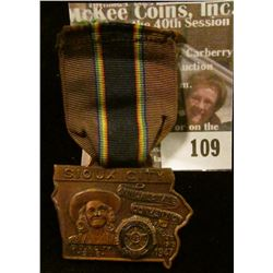 """Ribbon with hanging copper medal """"Sioux City/Annual State/Convention/American Legion/August/11-12-13"""