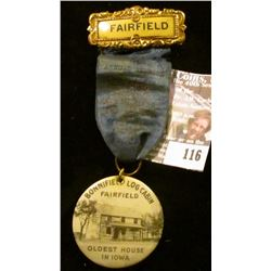 """Badge with Ribbon and Hangar """"Fairfield"""", """"…Jefferson County Old Settlers…1916"""" (barely legible on r"""
