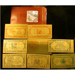 (8) Different rectangular Wooden Nickels dating 1938-1954 including Henry & Floyd County, Iowa.