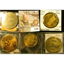 (5) Different Iowa Centennial Medals, all brass. Includes Grand Junction, Blairstown, Miles, Perry,