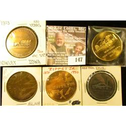 (5) Different Iowa Centennial Medals, all brass. Includes Rowley, Red Oak, Rippey, Mount Pleasant, &