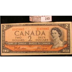 1954 Canada Two Dollar Banknote, VF.