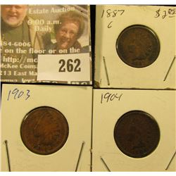 1887, 1903, & 1904 Indian Head Cents.