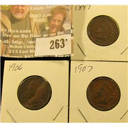 1897, 1906, & 1907 Indian Head Cents.