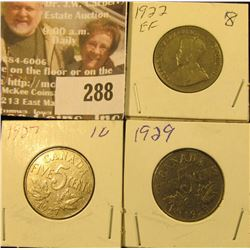 1922, 27 & 29 Canada Five Cents.
