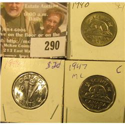 1940, 44 & 47ML Canada Five Cents.