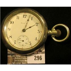 Elgin National Watch Company Men's Open face Pocket Watch with Engraved Elk Silverode case. Movement