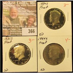1980 S, 81 S, & 84 S Proof Kennedy Half Dollars. Red Book value is $10.00.