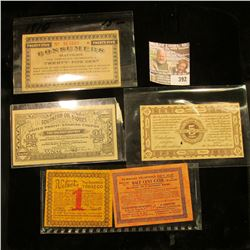(5) Pieces of old advertising scrip dating back to 1911. Includes: Velvet Tobacco, Turkish Trophies