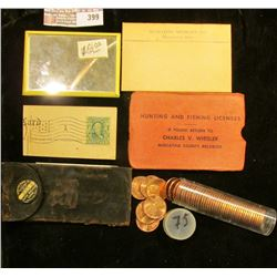 """Small leather Billfold with pin-back """"David Bogard Clothier Muscatine, Iowa""""; Hunting and Fishing Li"""