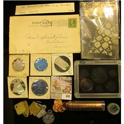 """""""Obsolete Coin Set"""" plastic case; old Post card of Lady displaying quilt; 1911 Muscatine, Ia. Home C"""