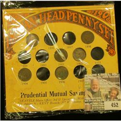 "1895, 1898, 1901, 1902, 1903, 1904, & 1906 Indian Head Cents in a special holder from ""Prudential Mu"