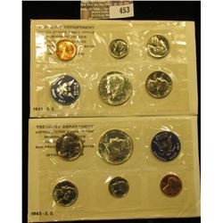 Pair of 1965 U.S. Special Mint Sets containing the 40% Silver Kennedy Half Dollars. CDN Bid is $14.0