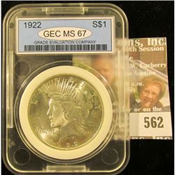 1922 Peace Dollar Graded Ms 67 By Gec