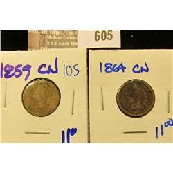 1859-Cn And 1864-Cn Civil War Era Indian Head Cents