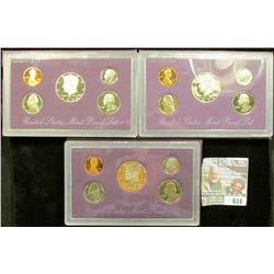 1990, 1991, And 1992 Proof Clad Sets