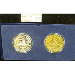 Two One Troy Ounce Coins That Are Part Of The Remember Pearl Harbor Collection.  The Aircraft Carrie