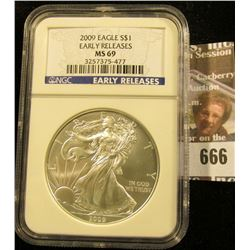 2009 American Silvere Agle Graded Ms 69 Early Release By Ngc