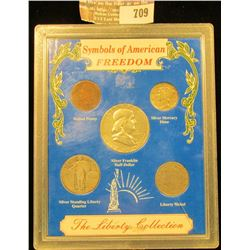 Symbols Of American Freedom Coin Set Includes 1957 Franklin Half Dollar, 1905 Indian Head Cent, 1945