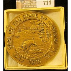 1966 Two Inch Bronze High Relief Medal With The Seal Of Indiana On One Side And Indiana's Sesquicent