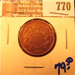 1864 Two Cent Piece, Very Rare with a 180 degree die rotation. Lacquered and cleaned, but very nice
