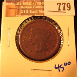 1850 Large Cent With Full Liberty Visible On Liberty