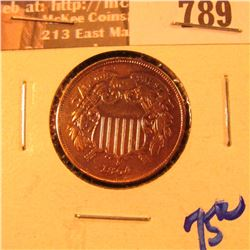1864 Two Cent Piece, 180 degree die rotation. Lacquered and cleaned, but very nice grade.