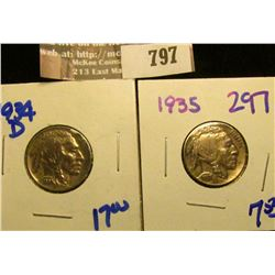 1934-D And 1935 Buffalo Nickels.  Two Great Upgrade Coins For Your Sets