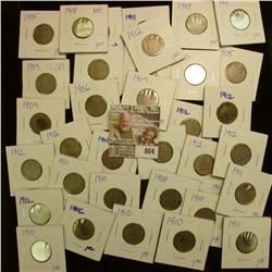 """(35) Mixed date & grade Liberty """"V"""" Nickels. All carded and ready for the flea market."""