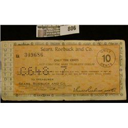"""Old Sears, Roebuck and Co. Scrip """"Only 10 cents""""."""