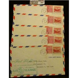 Pack of (5) First Flight Air France, 5 complete envelopes. 1953.
