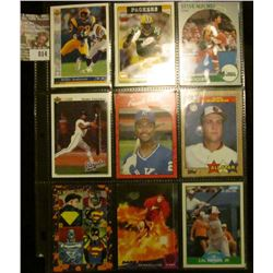 Sheet of Nine Sports Cards from 1980s & 1990s. Includes a couple of Cal Ripken.