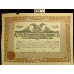 """One Share """"The Northwest Publishing Company"""" dated March 6, 1923. Upper central vignette of Eagle wi"""