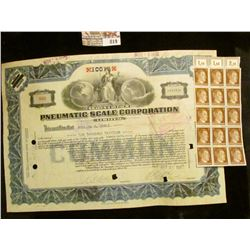 """Oct. 31, 1931 Stock Certificate for 10013 Shares $10 each """"Pneumatic Scale Corporation"""", central vig"""