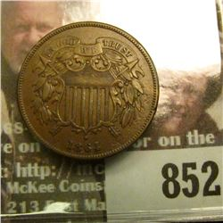 1864 Large Motto U.S. Two Cent Piece, Brown AU.