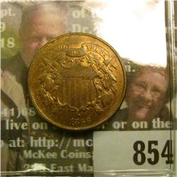 1866 U.S. Two Cent Piece, Red-Brown AU.