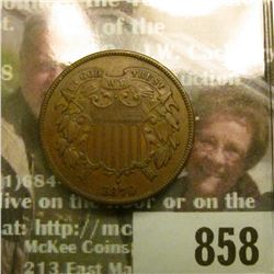 1870 U.S. Two Cent Piece, Brown AU.