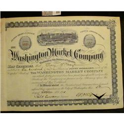 "100 Shares ""Washington Market Company Washington City District of Columbia"" October 5th, 1915. Centr"