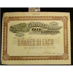 "May 21st, 1901 100 Shares Stock ""Eastern Consolidated Oil Company"". Vignette of Railway and cars at"