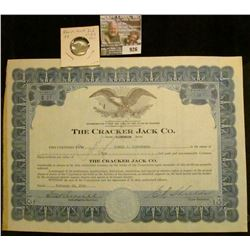 """926 _ Feb. 10, 1938 """"The Cracker Jack Co."""" Stock Certificate for 10 Shares; & a 1905 25 Bit Danish W"""