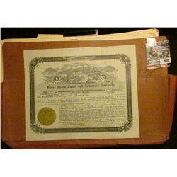 """930 _ File Folder; Number 131 Stock Certificate for 426 Shares """"Sweet Grass Canal and Reservoir Comp"""
