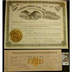 """933 _ January 7, 1891 """"The Logan Power, Light and Heating Company"""" Five Shares with gold notary seal"""