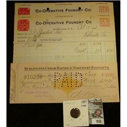 """935 _ Pair of Oct. 9 & 15, 1912 Letter head """"Red Cross Stoves & Ranges Co-operative Foundry Co. Roch"""
