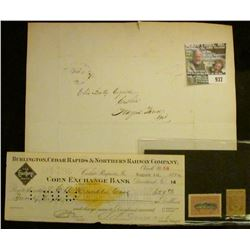 """937 _ Feb 6th, 1836 Folded letter with Postal Stamp; 1899 Check with Gold Documentary Stamp """"Burling"""